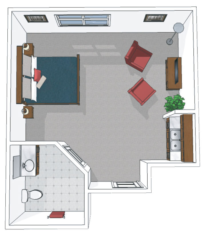 Canton Memory Care Private Suite Floor Plan