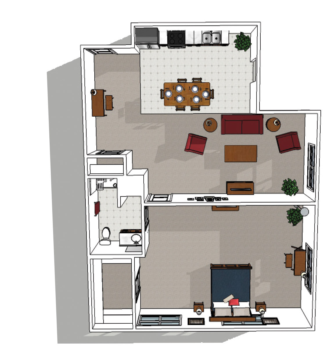 Canton Independent Living One Bedroom Premium Floor Plan
