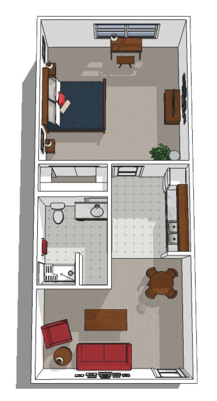 Canton Independent Living One Bedroom Floor Plan