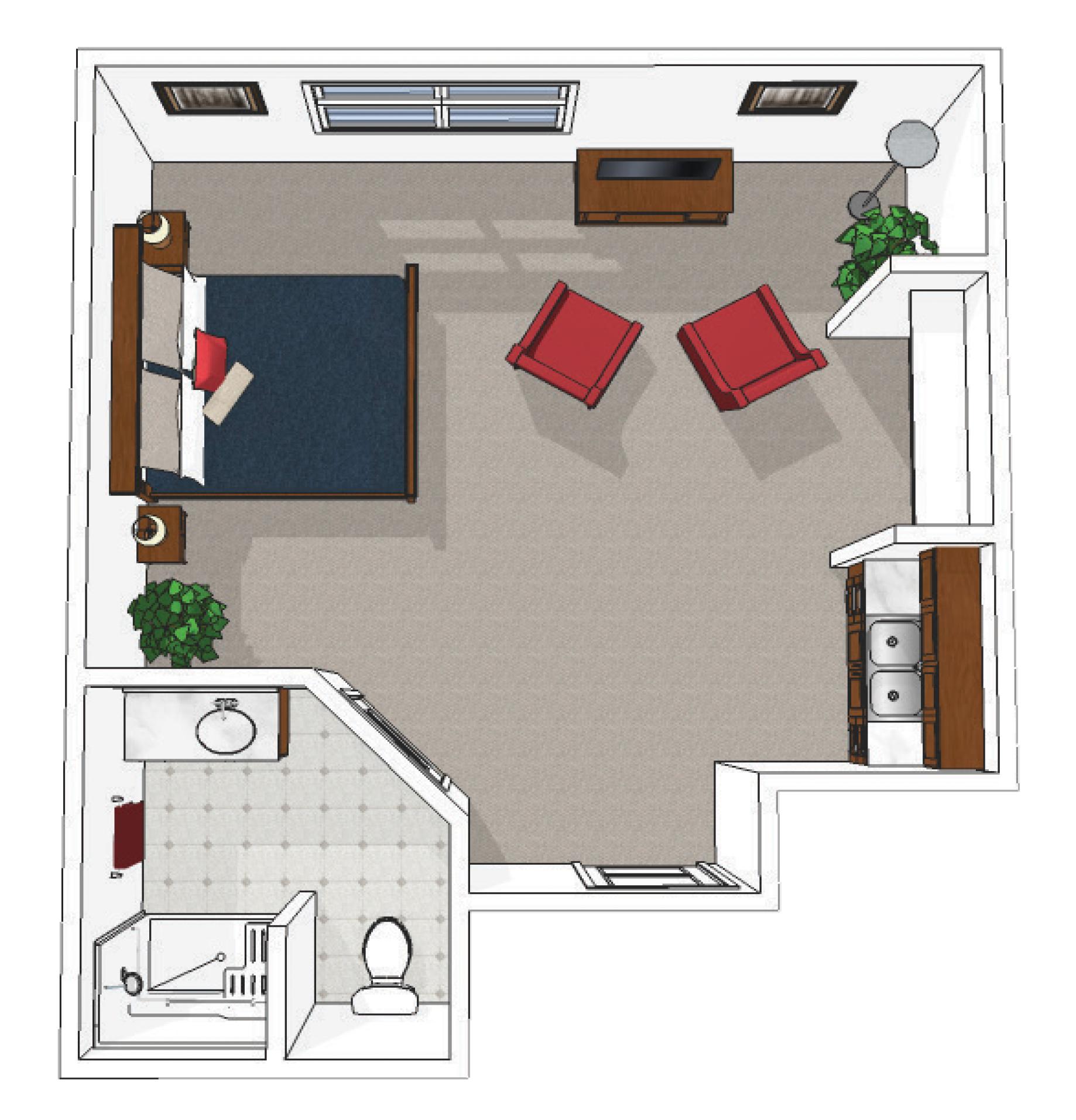Canton Memory Care Premium Suite Floor Plan