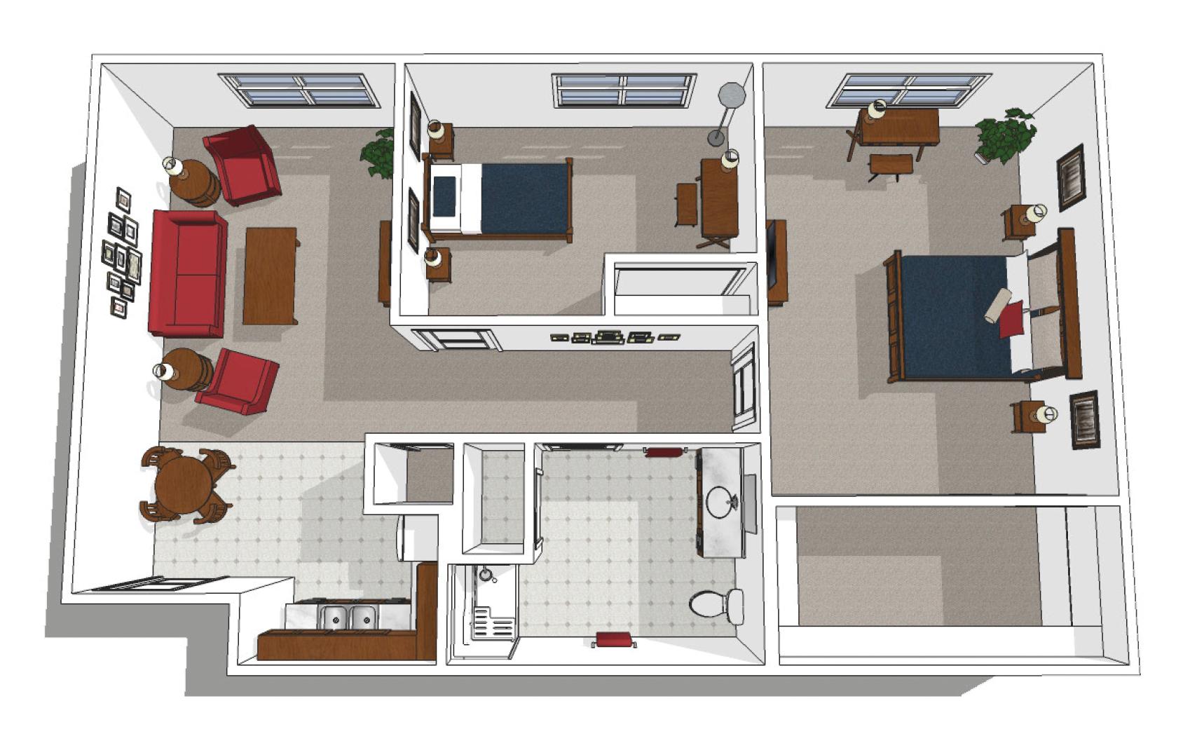 Canton Independent Living Two Bedroom Floor Plan