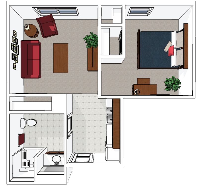Apartment One Bedroom 445-sq.-ft.